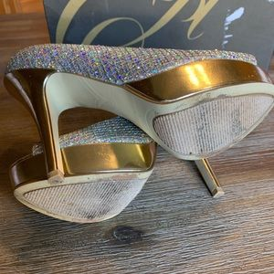 Enzo Angiolini Shoes - Enzo Angiolini Easully Silver-Gold Open Toe Heels